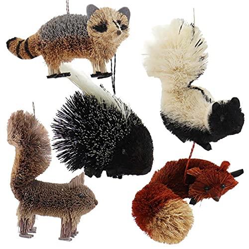 Kurt Adler S0731 Buri Woodland Animal Decorative Holiday Christmas Tree Ornament Set with Raccoon, Squirrel, Skunk, Fox, and Porcupine (5 Pack)