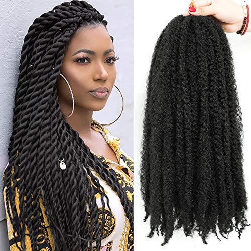 "Lihui Braiding Hair Marley Twist Braiding Hair Long Marley Hair For Twists Faux Locs 6 Packs Marley Braiding Hair Marley Twist Crochet Hair For Black Women(20""-6packs, 1B)"