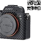 Anti-Scratch Camera Body Cover Sticker Protector for Sony A7III A7RIII (A7 Mark III & A7R Mark III Only), Anti-Slide Grip Holder Skin Guard Shield - Carbon Fiber Film