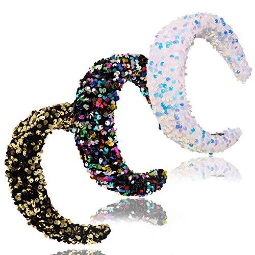 ECANGO 3 Packs Reversible Sequin Headband for Women Girls Wide Sparkly Velvet Padded Hairbands Elastic Bling Bling Hair Hoops Accessories