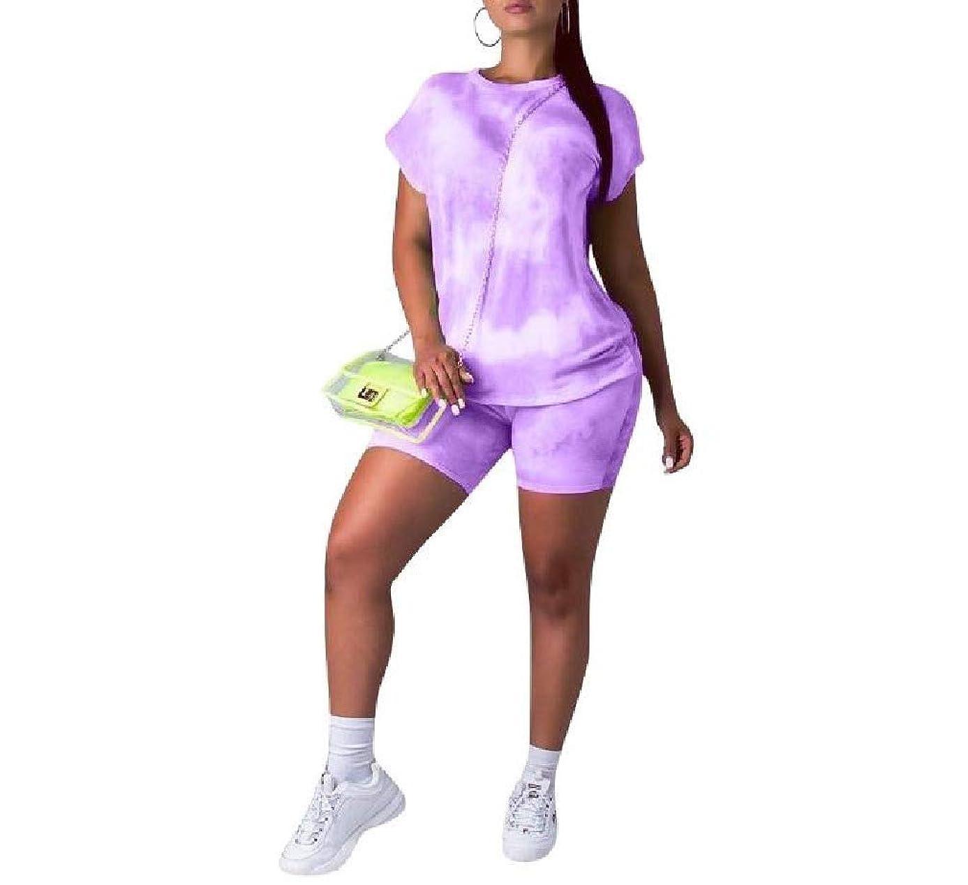 産地合理化遊び場Romancly 女性のカラフルな半袖プリントのオムレブとズボンのスーツセット