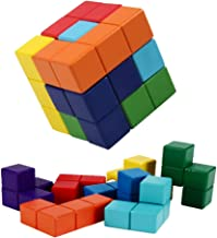 B&Julian Rompecabezas de Cubo de Madera Soma 3D Tetris Tangram Puzzle para niños Adultos