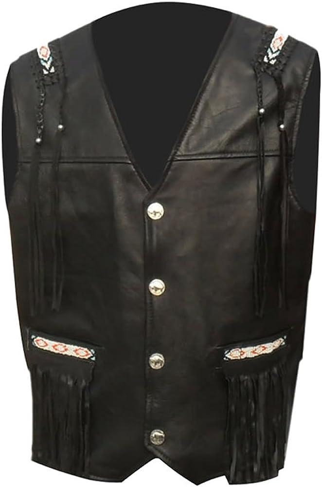 coolhides Men's Cowboy Real Leather Vest with Fringes & Beads