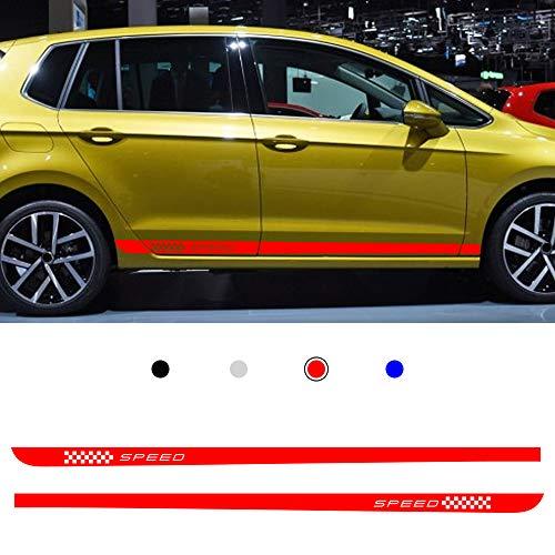 Cobear Auto Seitenstreifen Seitenaufkleber Aufkleber für V OLKSWAGEN Golf 7 MK7 Rennstreifen Racing Decals Viperstreifen Rot 2 Stück
