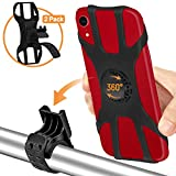 Bike Phone Mount 2 Pack, Detachable Phone Holder for Bike, 360° Rotatable Bike Phone Holder for Cycling, Adjustable Silicone Strap, Universal Bicycle Phone Mount for iPhone and 4.0'- 6.5' Smartphone