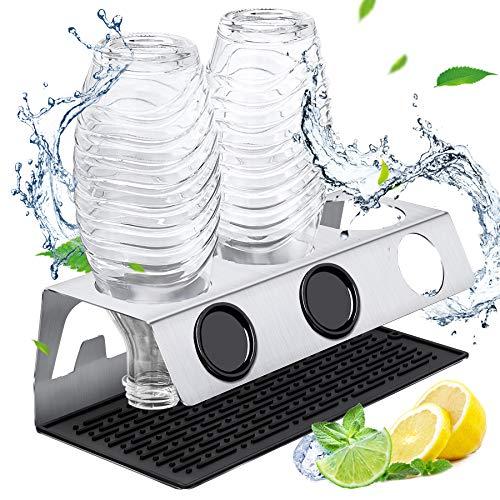 Wilbest® Premium Flaschenhalter für SodaStream aus Edelstahl mit Silikonunterlage, 3er Abtropfhalter für Sodastream Crystal und Emil Flaschen, spülmaschinenfest Abtropfständer