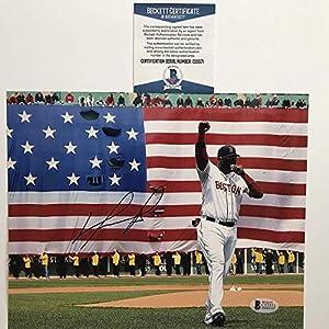 Autographed/Signed David Ortiz Boston Red Sox 8x10 Baseball Photo Beckett BAS COA
