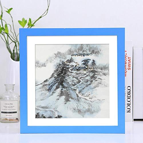 XQSB fotolijst, vierkant, van massief hout, hemelsblauw, fotoformaat 35,4 x 35,4 cm