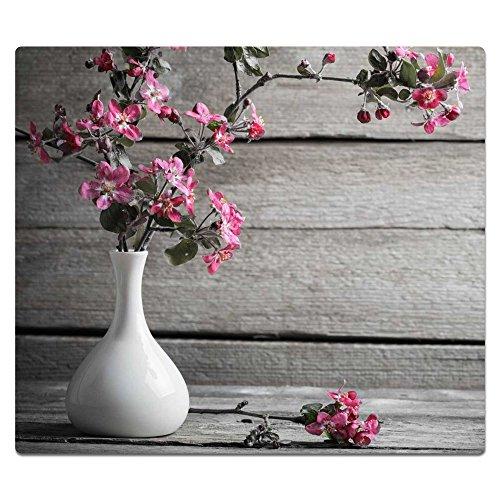 decorwelt | Herdabdeckplatte 60x52 cm Ceranfeldabdeckung 1-Teilig Universal Elektroherd Induktion für Kochplatten Herdschutz Deko Schneidebrett Sicherheitsglas Spritzschutz Glas Blumen Pink