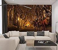 3D写真壁紙ヨーロッパの森エルク風景リビングルーム寝室テレビ背景壁家の装飾壁-200x140cm
