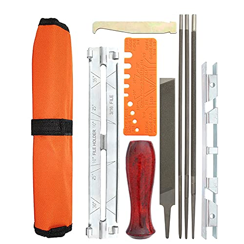 Abnaok 10 Piece Chainsaw Sharpener File Kit - Contains 5/32, 3/16, and 7/32 Inch Files, Wood Handle, Depth Gauge, Filing Guide, and Tool Pouch - for Sharpening and Filing Chainsaws and Other Blades