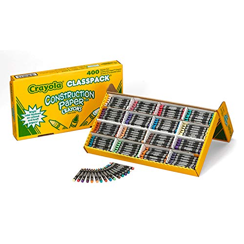 Crayola 52-1617 Class Pack Crayola Construction Paper Crayons, 25 ea. of 16 Colors, 400/Set, Assorted