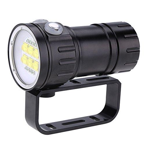 Tauchlampe - 28800 Lumen - Unterwasser 80m Wasserdicht Licht Tauchlampen - mit Halterungsständer Geeignet mit 7 Modi - für Outdoor-Tauchen, Höhlentauchen (Ohne 4 * 18650 Akku