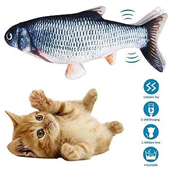 AIGUO Jouet Chat, Chat Jouet en Peluche, Simulation Poissons en Peluche, Jouet à Macher Interactif pour Chats, Rechargeable USB. (Carpe Herbe)