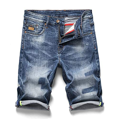 Summer New Men Denim Shorts Casual Classic Elasticity Slim Fit Washed Jeans Male Clothes,Blue,38
