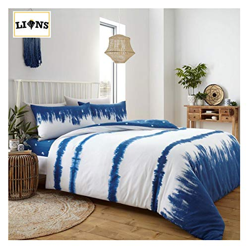 Lions Shibori Bedding Set - Indigo Tie Dye Stripe Duvet With Pillow Case | Reversible Quilt | Poly-Cotton | Easy Care | Blue | White | Double | 200 x 200 cm