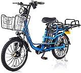 RDJM Bicicleta eléctrica Bicicleta 20 (Pulgadas) de la batería eléctrica 48V 400W Montaña 15-22Ah Litio, Frenos de Disco Doble de Advertencia de luz Trasera (Color : Blue, Size : 20AH)