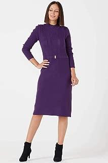 Kadın Yarım Boğazlı Taş Tokalı Triko Elbise - Mor