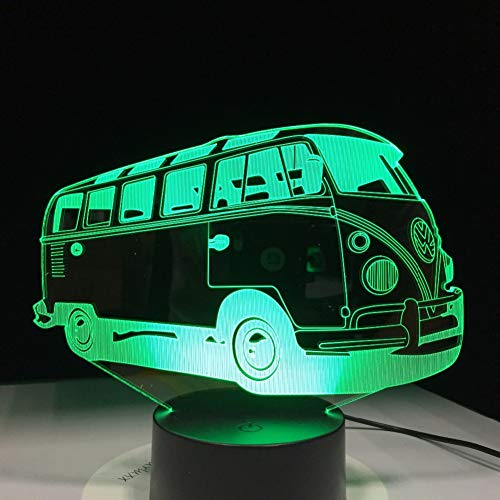 QAZEDC 3D nachtlampje 3D Cam Bus acryl tafellamp 7 kleuren veranderen LED nachtlicht USB baby slaapverlichting voor kinderen verjaardag jaar geschenk (gratis verzending)