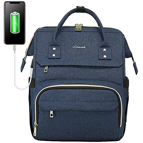 LOVEVOOK Rucksack Damen, Laptoprucksack 14 Zoll Wasserdicht Schulrucksack Reischerucksack mit USB Ladeanschluss, Rucksäcke Daypack für Schule Uni Studenten Lehrer Blau