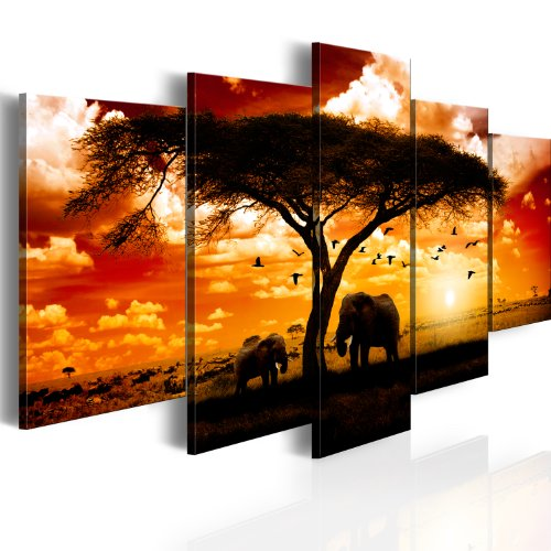 murando - Cuadro en Lienzo 200x100 - Impresión de 5 Piezas Material Tejido no Tejido Impresión Artística Imagen Gráfica Decoracion de Pared Tigre Animal Cigarro Alcohol 051378