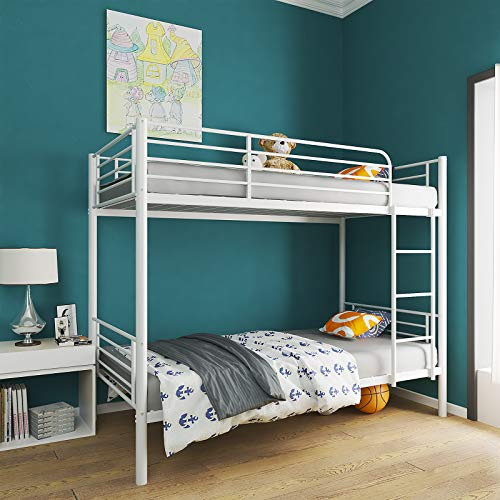 mecor Twin Over Twin Metal Bunk Bed/Sturdy Frame with Metal Slats/Safety Guard Rail & Removable Ladder/for Kids, Teens, Adults - White