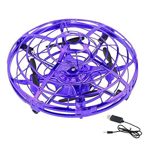 Drone controlado a mano Cuadricóptero con control remoto con retención de altitud, lanzamiento para llevar, vuelo circular, giro 3D, 2 modos de velocidad, luz LED, gran juguete para niños y niñas