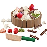 Kentop Wooden Fruit for Cutting Mini Toy Set for Children Cutting Birthday Cake Food Toy