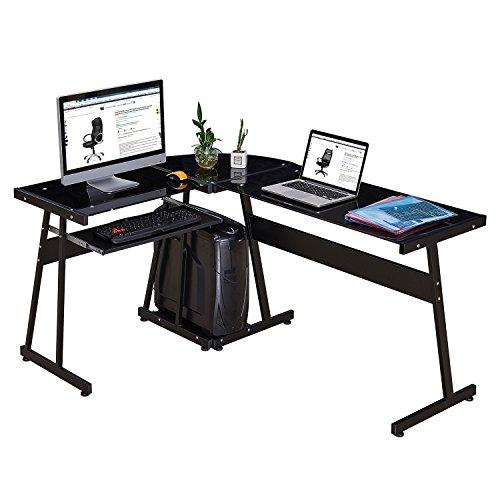 GreenForest Office Desk Corner L Shaped Workstation Laptop Table,Glass Black with Keyboard