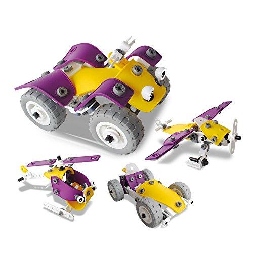 Leverde ねじ止め ブロック おもちゃ 工具 知育玩具 変形 4種類モデル 車/バギー/ヘリコプター 立体パズル 子供向け お誕生日 プレゼント お祝い