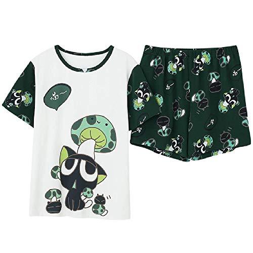 Cartoon Druck Mode Stil Pj Set Pyjamas Plus Size Damen Pyjamas Kurzarm Kurzhose Nachtwäsche Homesuit Homeclothes
