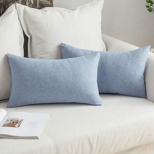 MIULEE 2er Pack Home Dekorative Leinen-Optik Kissenbezug Kissenhülle Kissenbezüge für Sofa Schlafzimmer Auto mit Reißverschlüsse 30x50 cm Hellblau