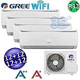 Climatizzatore inverter quadri split LOMO Wi-Fi 12000 + 12000 + 12000 + 12000 Btu GREE R32 classe A++/A+