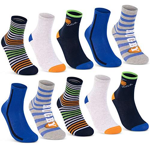 10 Paar Kinder Socken Jungen und Mädchen Baumwolle Kindersocken - 54353 (10 Paar   Jungen 3, 31-34)