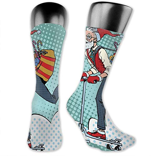 DHNKW Socks Compression Medium Calf Crew Sock,Pop Art Scenery With Hipster Santa Claus On Scooter With Gift Bag Christmas Theme