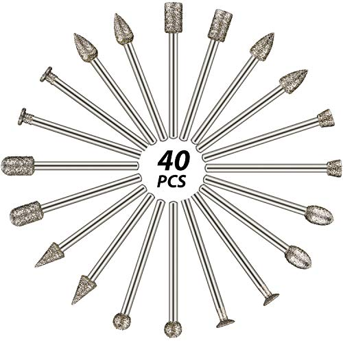 60 Grit 40 Pieces Diamond Burr Set Rotary Grinding Burrs Drill Bits Set Diamond Burr Bit with 1/8 Inch Shank, Diamond-Coated Stone Carving Accessories Bit Universal Fitment for Rotary Tools