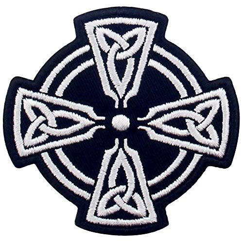 Celtic Cross Circle Patch Embroidered Applique Iron On Sew On Emblem, White & Black