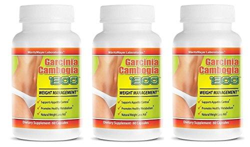 Garcinia Cambogia Extract 1300 60% HCA Weight Management Appetite Suppressant 60 Capsules Per Bottle 3 Bottles