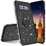 MRSTER Funda para Samsung Galaxy S10 5G, Glitter Bling TPU Bumper Brillante Diamante Protector Case con Soporte Ring Kickstand de 360 Grados Carcasa para Samsung Galaxy S10 5G. Black
