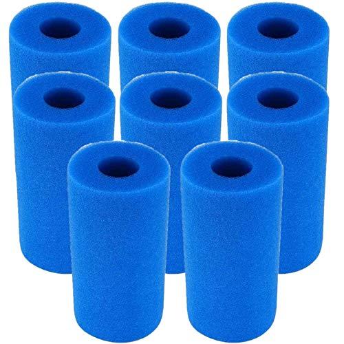 Mscomft Cartucho de filtro de piscina para Intex tipo A, esponja de filtro de piscina, reutilizable/lavable, cartucho de espuma de filtro de piscina (8 unidades, azul)