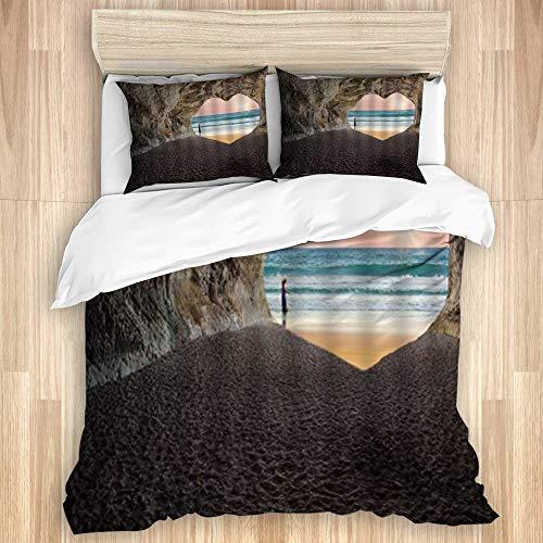 DAOPUDA Washed Cotton Duvet Cover Set,Sunshine Tropical Sand Wave Heart...
