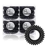 EZbobble - 12 gomas elásticas para el pelo, en espiral, para mujeres y niñas, de plástico, serie multicolor en espiral (negro)