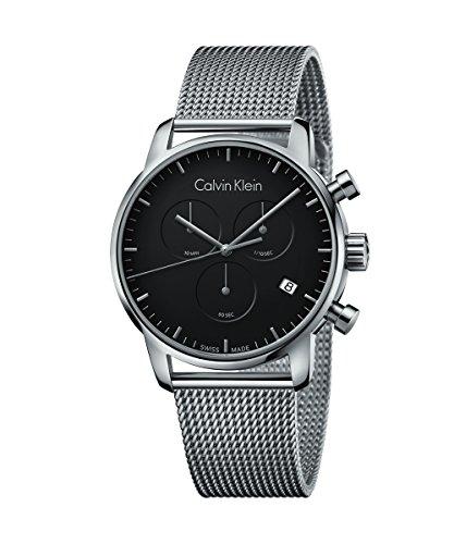 New para Hombre Calvin Klein Ciudad 43mm Negro Dial Cronógrafo Reloj Fabricado en Suiza k2g27121