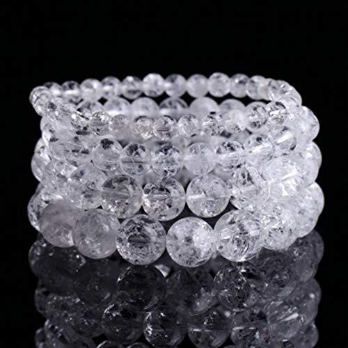 WBHNKT Pulsera De Cristal con Grietas Blancas Pulsera De Piedra Natural Estiramiento Pulsera para Hombres Y Mujeres Pulsera Elástica Cadena De Cuentas De Joyería