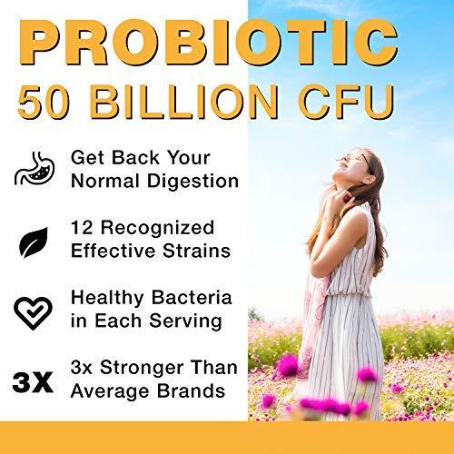 Probiotics 50 mil millones CFU – Hecho en Estados Unidos – Probióticos para mujeres, probióticos para hombres y adultos, natural; suplemento probiótico estable con prebiótico orgánico, probiótico acidofilo; 30 cápsulas