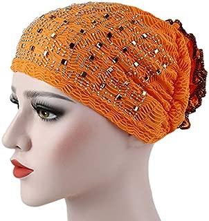 Jixin4you Flower Rhinestone Muslim Hat Pleated Cotton Headscarf Cancer Chemo Cap Turban