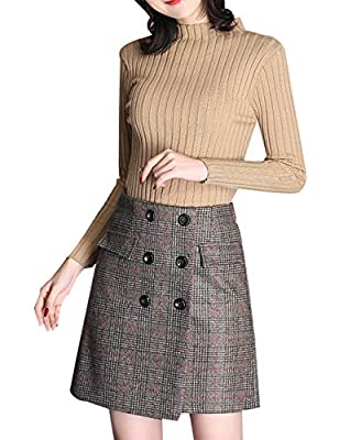 Jenkoon Women's Vintage Winter Casual Plaid High Waist A-Line Swing Skirt