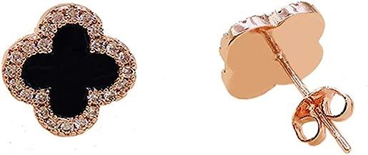 Hypoallergenic Lucky Four Leaf Clover Classic Black Stud Earring for Women & Girls