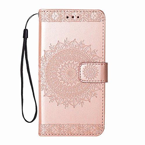 Leder Hülle für Samsung Galaxy S6 Edge (NICHT für S6) Hülle Schutzhülle Handyhülle Klapphülle Flip Hülle Cover Leder Tasche Magnet Kartenfach Lederhüllen Handytasche für Galaxy S6 Edge (Rose Gold)