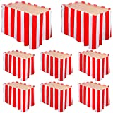 Elcoho 8 Pack Carnival Circus Party Decorations Red and White Striped Table Skirt Table Cloths for Home Decor Circus Birthday Theme Party Supplies